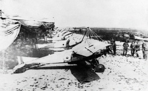 A year earlier in 1915, 3 Squadron's Morane Parasol L and LA planes lined up.  Photo Credit:  Australian War Memorial Photo H18969