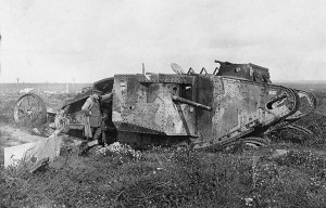 "A ""D"" Company Mark I tank near Courcelette, Somme; the photo was taken a year later in September 1917 and is the one destroyed in the Somme Battle, one of the three that moved on Flers that morning."