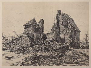 An unidentified artist's sketch of the ruined church in Flers, Belgium, soon after the September 1916 battle.  It was not far from here, that the engagement took place.