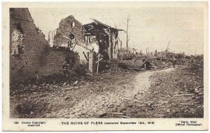 After the battle, the Daily Mail produced a series of postcards commemorating the events.  No. 163 featured the High Street in Flers, Belgium -- it was precisely here that the events took place.  Photo Credit:  Daily Mail