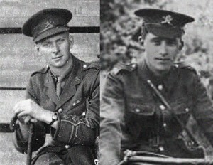 Lt Arthur Arnold, tank commander, at left; Pte Jacob Glaister, Jnr., took control and rescued Lt. Arnold, at right.  Photo Credit:  http://www.firsttankcrews.com
