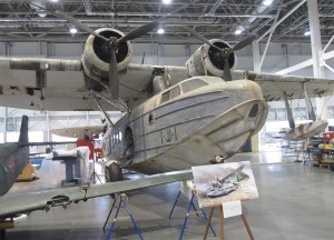 The actual airplane, by serial number, that Ens. Ruth flew that day, now located in the Smithsonian and undergoing restoration.  Credit:  FlugKerl2 under license.