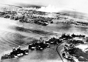 Photo taken from a Japanese plane during the first attacks on Pearl Harbor.