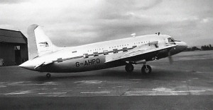 British European Airlines Vickers Viking 1B at Manchester, England, in 1953.