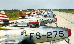 F-84E Thunderjets from a sister unit, the 526th Fighter Bomber Squadron, parked on the ramp in 1951.  Photo Credit:  USAF