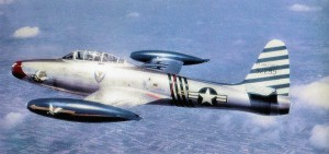 "An F-84E Thunderjet of the 23d Fighter-Bomber Squadron, also part of the same wing that flew out of ""Fursty"" at that time; this is the personal plane of Wing Commander Col. Robert L. Scott, USAF."