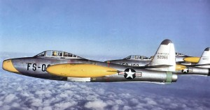 An F-84E Thunderjet with USAFE, assigned to RAF Manston, England, with the 12th Fighter-Escort Wing, 1951.  Photo Credit: USAF