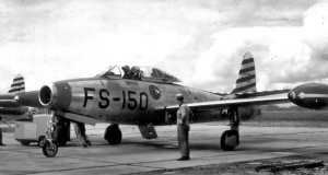 F-84E Thunderjet at Fürstenfeldbruck Air Base, c.1952.  Credit:  USAF