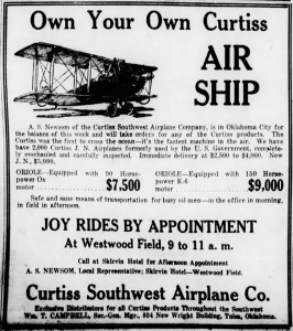 Advertising in the Oklahoma City Times, Friday, August 1, 1919, page 14.