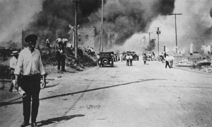 Tulsa burns during the height of the race riot on June 1, 1921.