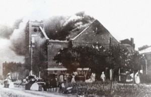 Mount Zion Baptist Church burns after seeing its roof set afire from the attacking biplanes.