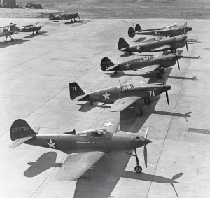 Front line up of America's WWII fighter forces, from foreground, the P-39 Airacobra, P-51B Mustang, P-40B Tomahawk, P-47B Thunderbolt, and P-38 Lightning.