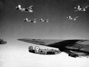 B-24 Liberator bombers enroute to the target over Germany, c. 1944.