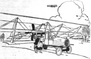 Close-up of the an illustration of the Curtiss Autoplane in a report from the New York Times, February 13, 1917.  Artist unknown.