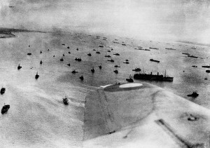 Photograph of the D-Day beaches on June 6, 1944, from an RAF aircraft.
