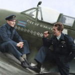 "Canadian pilots Jeff Northcott and Lloyd Chadburn with the ""City of Winnipeg"""