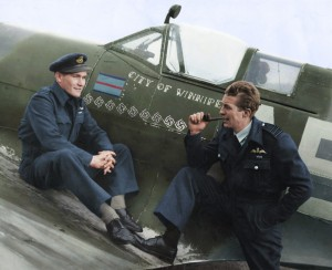 "Canadian pilots Jeff Northcott and Lloyd Chadburn with the ""City of Winnipeg"""