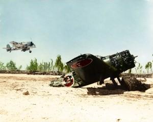 Grumman F6F-3 Hellcat landing on Tarawa