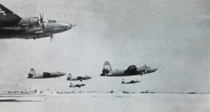 The 319th Medium Bomb Group demonstrates a six-ship formation takeoff.  Photo Credit:  IMPACT Magazine, USAAF
