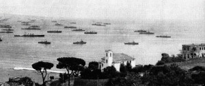 The invasion fleet off the coast of France's Cote Azur during Operation Dragoon.