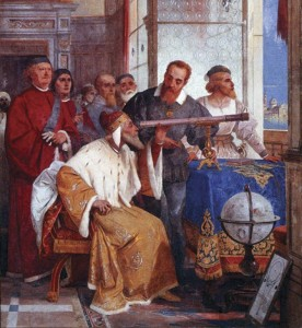 Galileo Galilei showing the Doge of Venice how to use the telescope as depicted in an 1858 fresco by Giuseppe Bertini, Varese, Italy.