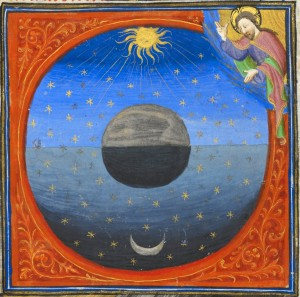 A late Medieval illuminated manuscript painting depicting the universe, with the Earth at the center, the Sun and Moon on opposite sides against a painted backdrop of the stars.  Above all, there is God in the corner looking down upon all creation.
