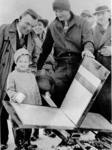 The stamp collector and supporter John Schliech asked his five-year-old daughter, Gloria, christen the rocket with a cup of snow prior to launch.