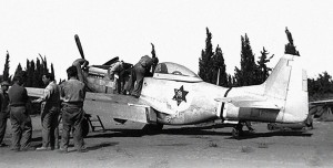 One of the IAF P-51D Mustangs not long after arriving in Israel.  Later, the planes would be painted in IAF squadron markings, including a red and white striped tail.  Photo Credit:  IAF