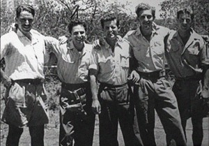 From left, Syd Cohen, Giddy Lichtman, Modi Alon, Ezer Weizman, and Arnie Ruch, five of the pilots in the summer of 1948.  Photo Credit:  IAF