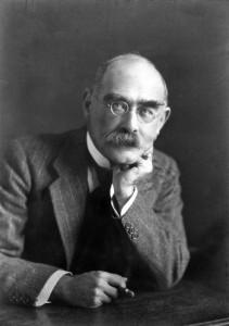 Rudyard Kipling, late in life, a photo portrait by Elliott & Fry.