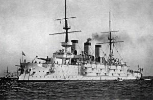 The Japanese flagship of the 2nd Squadron, Suwo, commanded by Vice Admiral Kato Sadakichi at Tsingtao.  Formerly, this ship was the Russian battleship Pobeda, having been sunk, captured, and raised by the Japanese at the Siege of Port Arthur on December 7, 1904.  Photo Credit:  Unknown Russian Photographer (c.1901).