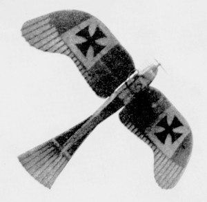 A Rumpler Taube, the identical type in which Lt. Plüschow reputedly scored the first air-to-air victory over Tsingtao in 1914.  Photo Credit:  The National Geographic Magazine, Vol. XXXIII, No. 1, January, 1918, p. 99