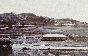 Tsingtao Racecourse, c.1906.  The area to the right, inside the track's boundaries, was probably where Lt. Plüschow based his Taube.  Photo Credit:  University of Bristol - Historical Photographs of China reference number: NA10-16 -- used for research purposes only (otherwise do not duplicate).
