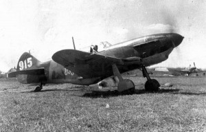 """A LaGG-3 fighter, the type that Fyodorov flew in 1942 and 1943.  This photo shows an aircraft from the 88th Fighter Aviation Regiment. Board Number 915, which carried the inscription """"Soviet Georgia"""" on the side."""
