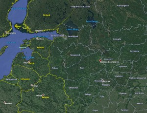 The location of Bosharovo, north of Moscow, where apparently Fyodorov flew alone against a large Luftwaffe raid.  Map Credit:  Google Earth