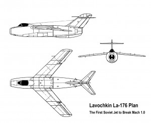 Three-View Plan of the Lavochkin La-176 Prototype.