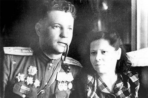 Ivan Fyodorov with his Anna Artemyevna.  His pipe with the head of Mephistopheles at the end was reputed to have been captured from a German pilot during the war.  Photo Credit:  Victor Kantemirov